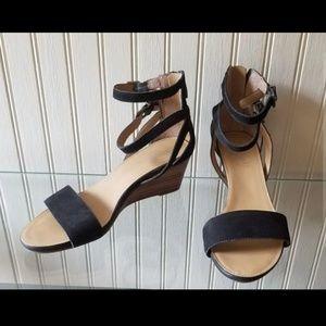 Franco Sarto sandals black leather wedge heels